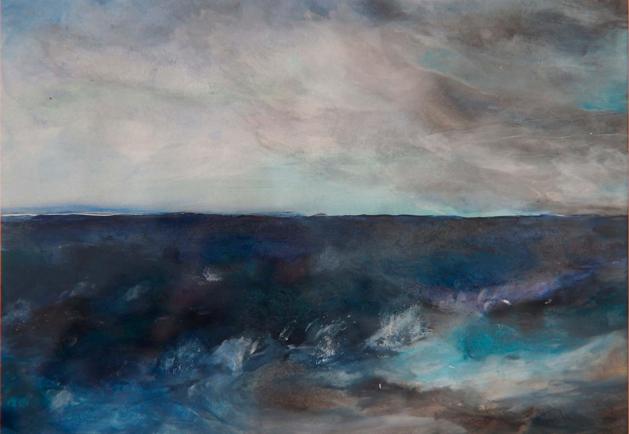 Stürmische See, Acryl, gerahmt 63x52cm